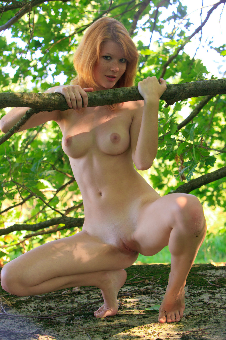 Redheaded vixen gets naked in the forest and spreads her legs