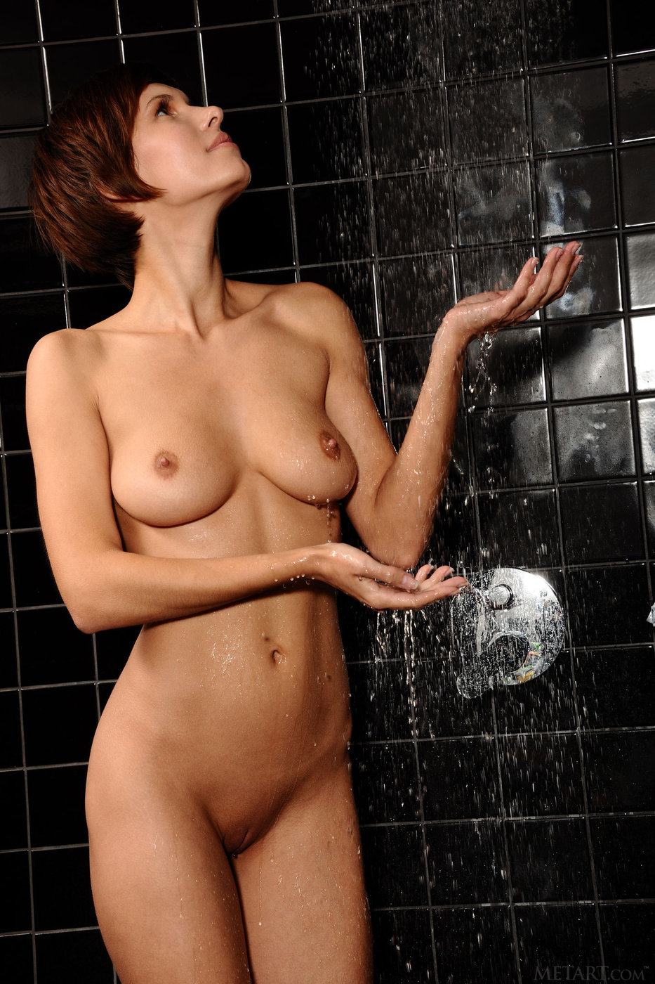 Brunettes naked in the shower