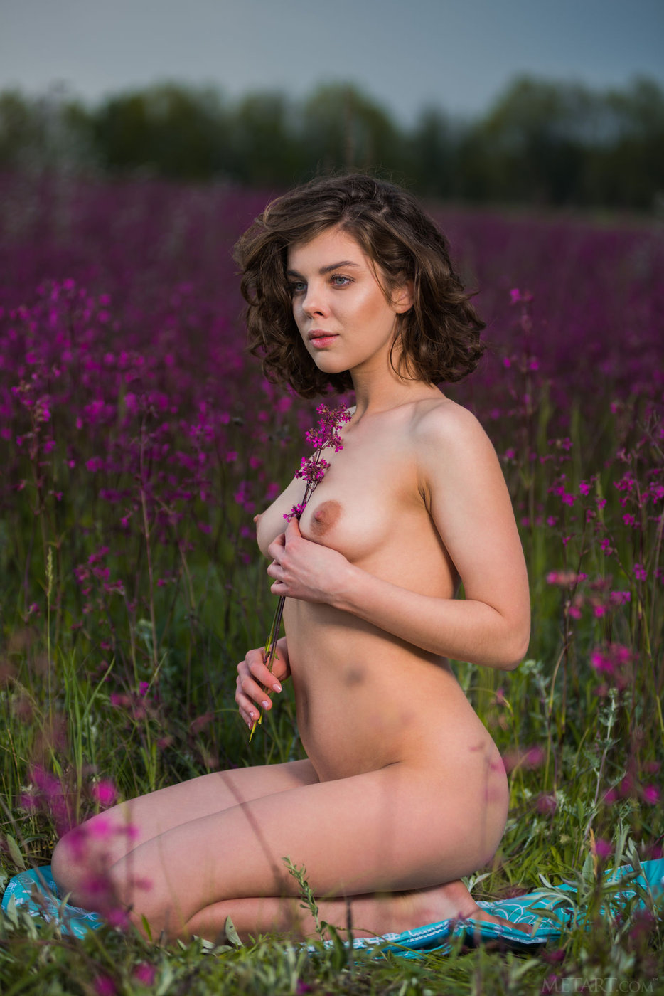 Curly-haired hottie with beautiful breasts posing in a beautiful field