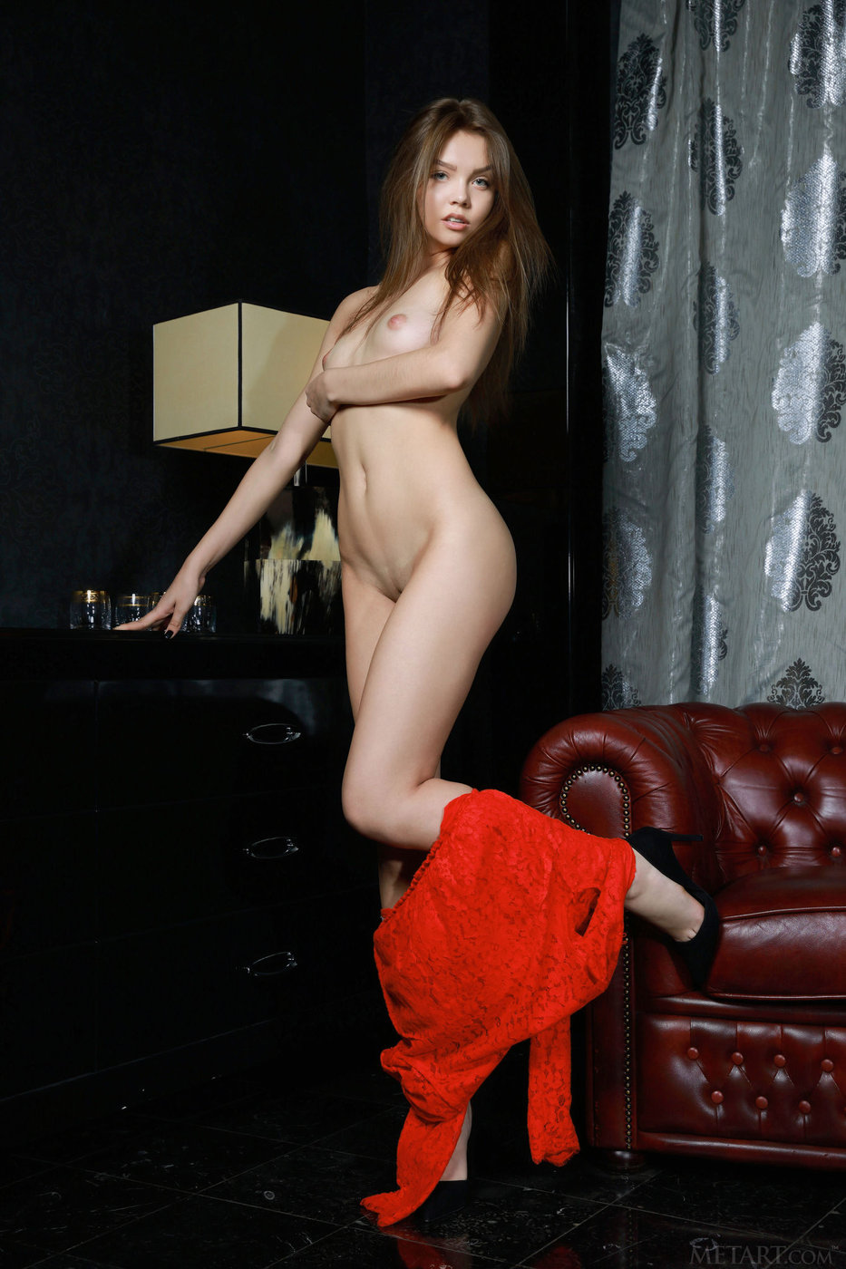 Red robe brown-haired beauty showing her perfect smooth pussy
