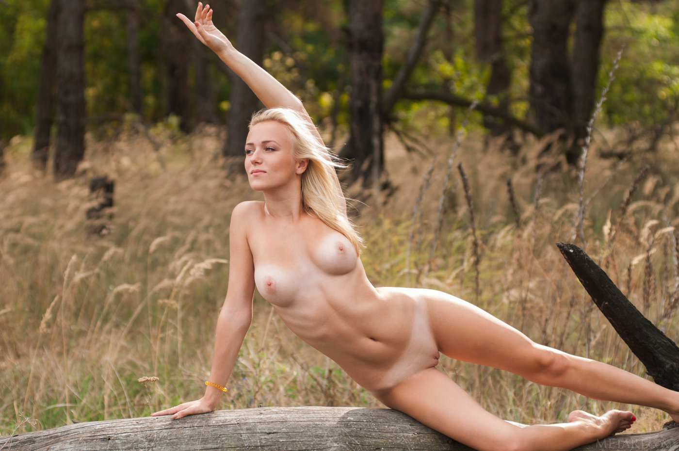 Pale blonde with tan lines posing totally naked on a fallen tree