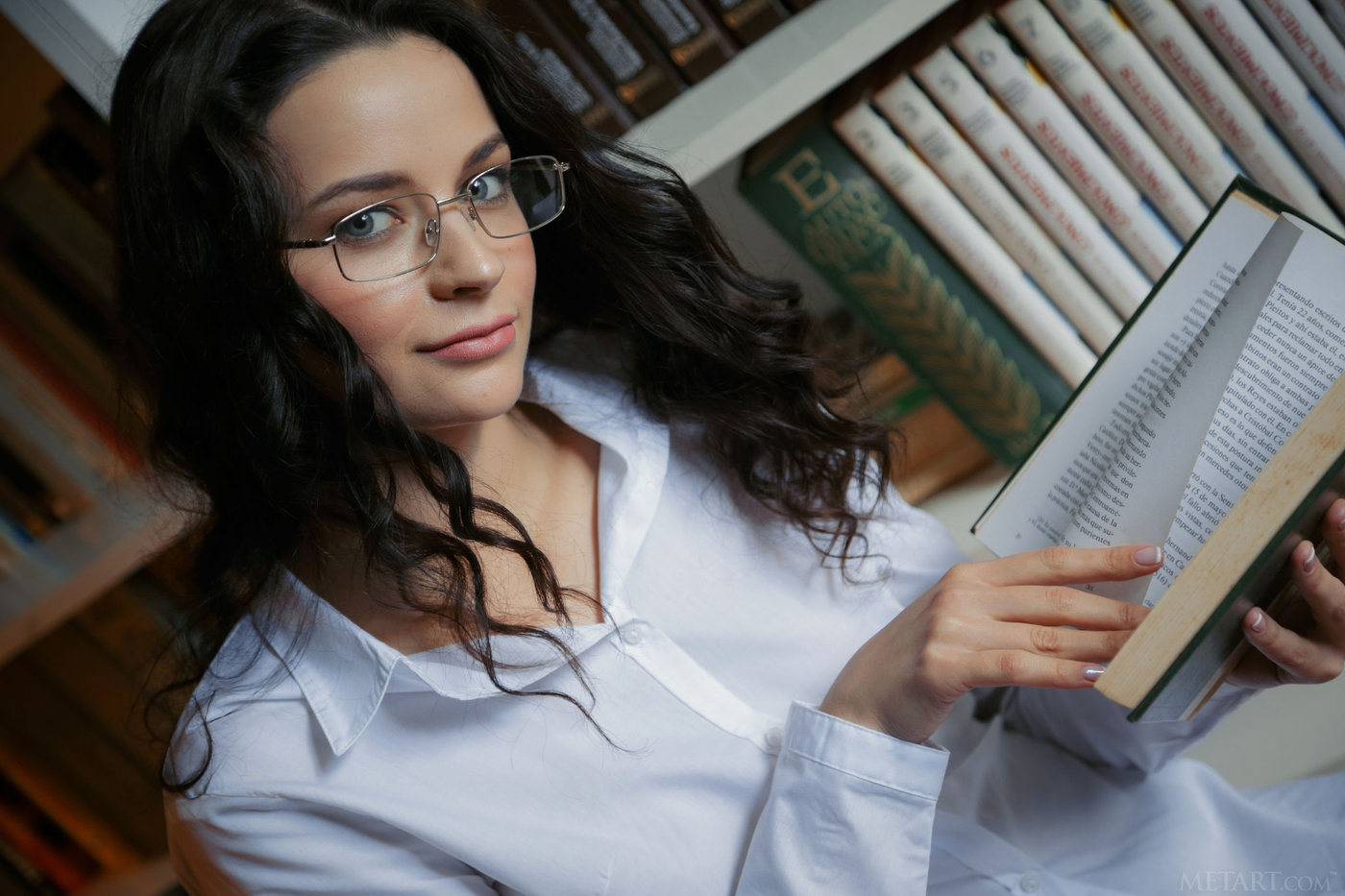 Glasses pussy girl with White