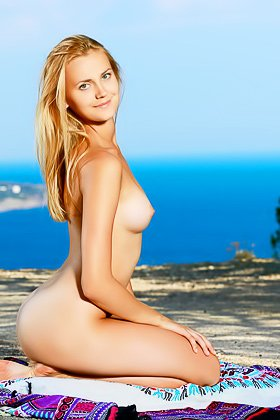 Red dress blue-eyed blonde decides to pose naked while outdoors Videos