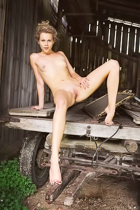 Polka dots top curly-haired blonde poses naked in a wooden barn Videos