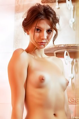Wavy-haired brunette stunner spreading her legs in the bathtub Videos