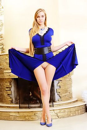 Blonde with a beautiful face takes off her revealing blue dress Videos