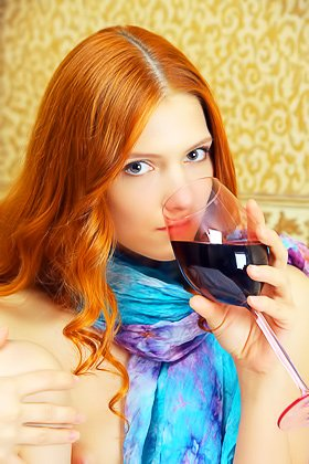 Fancy scarf redhead enjoying fine wine while completely naked Videos