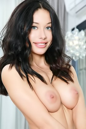 Long-legged bimbo brunette flaunting her perfect natural breasts Videos