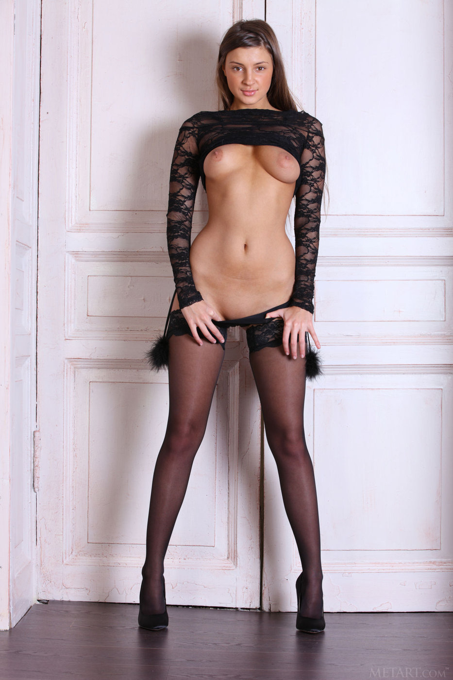 naked black stockings