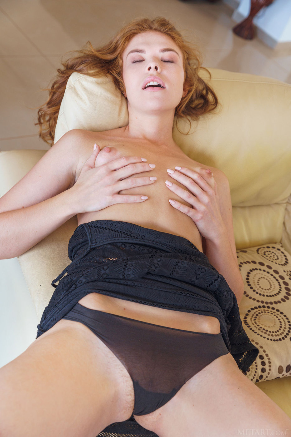 Redhead Teen In Tiny Panties Revealing Her Bushy Pussy Up -3828