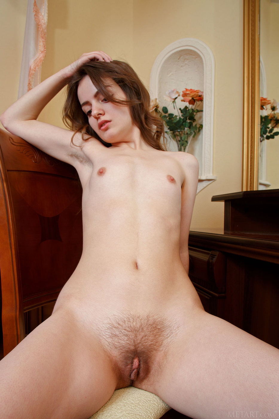 Brunette Babe With Tiny Tits And Hairy Pussy