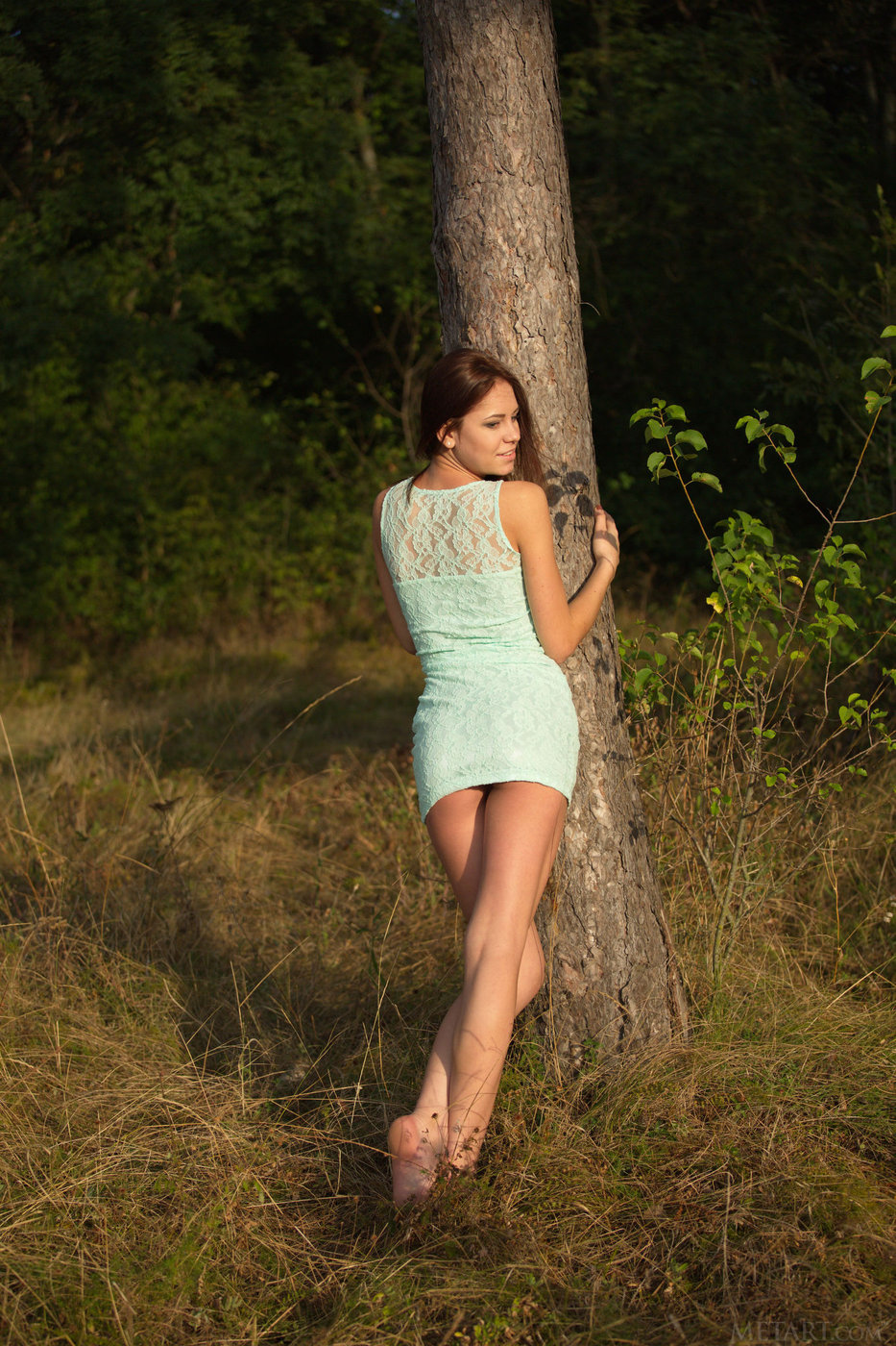 Dress-wearing auburn-haired teen poses naked next to a