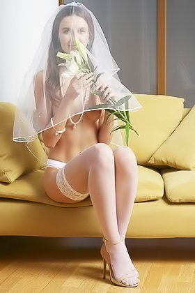 White stockings beautiful brunette bride shows her hairy pussy Videos
