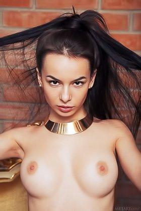 Ponytailed brunette in black is so blase about her masturbation Videos