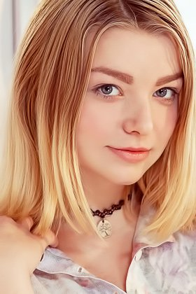Blond-haired teen in a choker showing off her natural big breasts Videos
