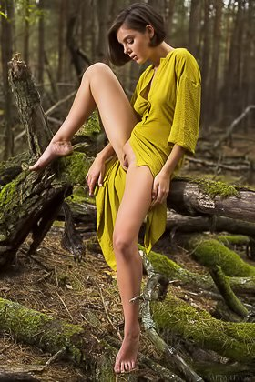 Dress-wearing short-haired brunette exploring nature in the nude Videos