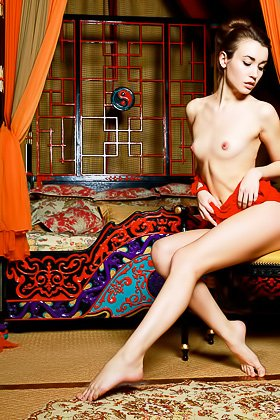 Red get-up brunette shows her body and her geisha-like sex appeal Videos