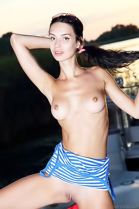 Striped dress brunette showing her perfect pussy up close outdoors Videos
