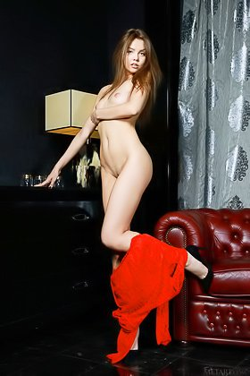 Red robe brown-haired beauty showing her perfect smooth pussy Videos