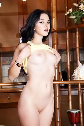 Black-haired brunette with cute face lets you see her divine pussy Videos