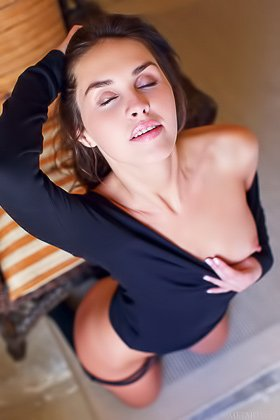 Cheerful brunette finally takes off her black get-up on camera Videos