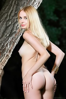 Brave blond-haired nympho strips naked in the woods, at night Videos