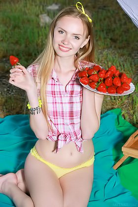 Baby-faced blonde teen eating strawberries and showing off her body Videos