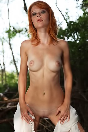 Short-haired redhead forest nympho stripping naked in the nature Videos