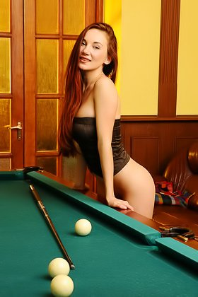 Redheaded babe strips naked on a pool table cuz she's real horny Videos