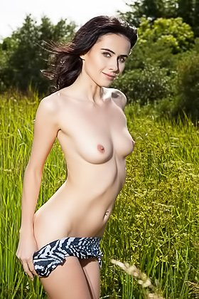 Leggy brunette with perky tits showing off her great body in a field Videos