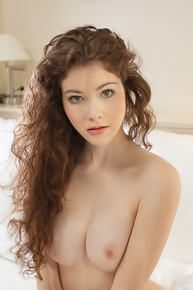 Frizzy-haired slim young girl showing her immaculate slit up close Videos