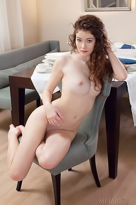 Wild-haired beauty with pale skin teasing the camera, stripping naked Videos