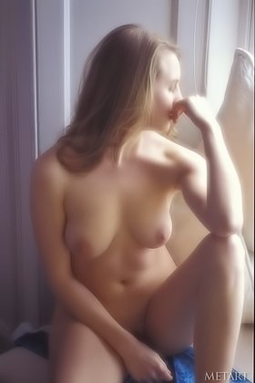 Lonesome blonde staring out the window while posing totally naked Videos