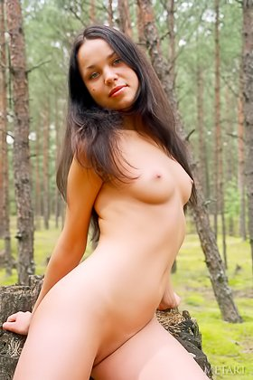 Dark-haired solo beauty with long legs posing naked in the woods Videos