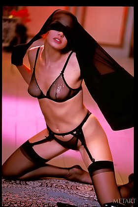 Dark-haired chick in sexy black lingerie shows off in a retro gallery Videos