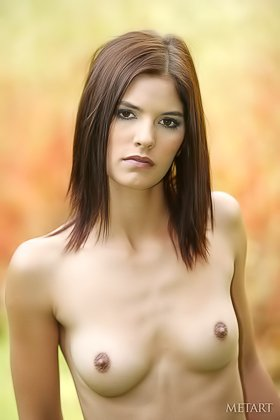 Stoic young seductress showing her skinny naked body outdoors Videos