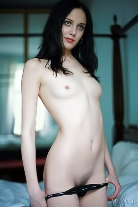 Small-breasted brunette shows her immaculate body on the bed Videos