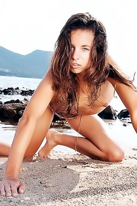 Skinny chick roams the beach while totally naked and it's great Videos