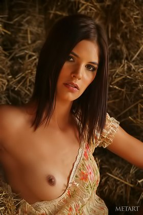 Long-haired brunette with natural boobs posing sexily in the barn Videos