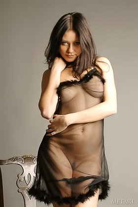 Delightful brunette in a see-through outfit shows her hot body Videos