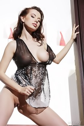 Delightful brunette in a see-through nightie shows her puffy pussy Videos