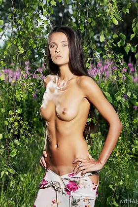Long-haired brunette in a flowery dress shows her goodies outdoors Videos