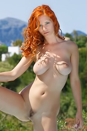 Redheaded beauty showing off her slightly hairy pussy by the pool Videos