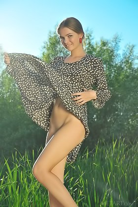 Sophisticated beauty with long legs showing her pussy outdoors Videos