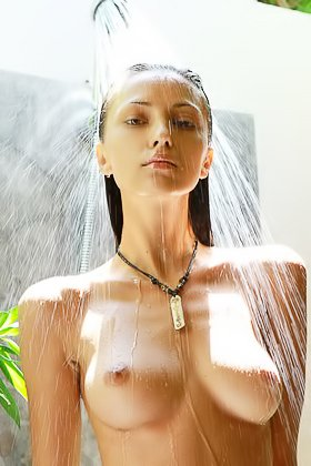 Big boobs brunette amateur showing her wet body in the shower Videos