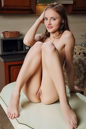 Slim young girl with small breasts spreads her legs for the camera Videos